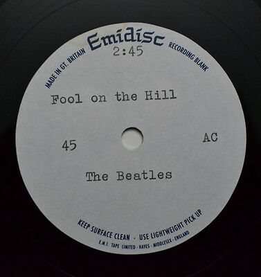 """Beatles   - Acetate - Fool On The Hill - 7"""" Inch -  Vg++"""