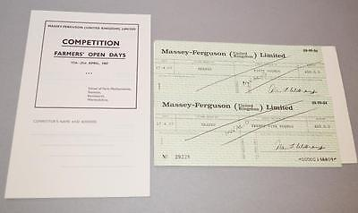 2 'Massey Ferguson ' 1967 Used Cheques and Unused Competition Form.