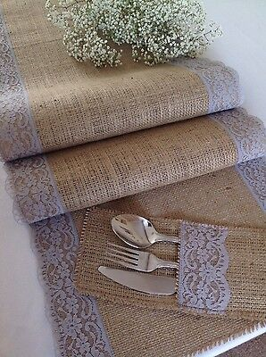 150cm, Natural Hessian/Burlap and Pretty Grey Lace Table Runner