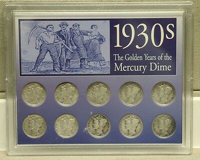 Key Date 1930s The Golden Years of the Mercury Dimes 10-Coin Sealed Pack, silver