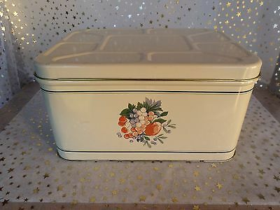 Vintage Metal Bread Box - Fruit design on side with Removable Lid