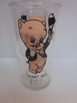 Vintage 1973 PORKY PIG Warner Brothers Character PEPSI Logo Collector Glass