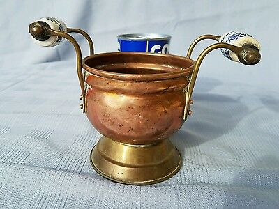 Brass imports of blue and white handled sugar bowl