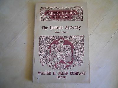 1912, The District Attorney - Vintage Play Script
