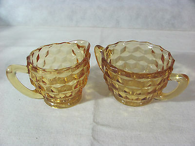 Jeannette Glass Amber Cube Glass Cream and Sugar Set