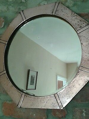 Antique Arts and Crafts Copper Octagonal Wall Mirror
