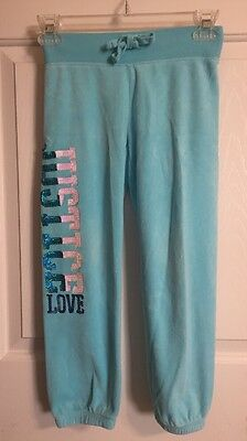 """Justice Girls Size 7 Velour Comfy Sweat Pants Teal With """"Justice Love""""  Sequins"""