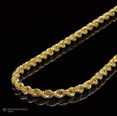 14K Real Yellow Gold 5mm Thick Rope Link Chain Necklace 20""