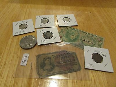 Collection Of Old Us Coins And Currency   Set 12
