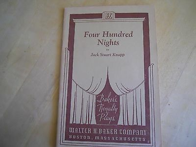1938 Four Hundred Nights Vintage Play Script