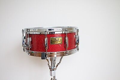 2005 Pearl Masters Custom (MMX) 14 x 5.5 4 ply Maple Vintage Snare Red Glass
