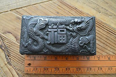 ANTIQUE vintage CHINESE SILVER PLATE DRAGON BOX CHINESE BOX