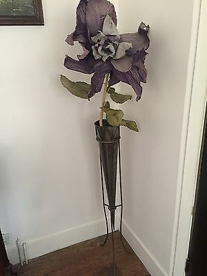 Giant Floor Vase Silver Vintage With Giant Flower