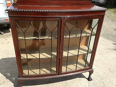 1930's Mahogany Pie Crusted Glazed China / Display Cabinet/ball/claw legs