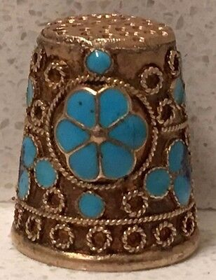 Sterling Silver and Gold with Enamel Flower Sewing Thimble