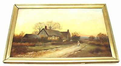 19thC Oil on Canvas Painting Bridge Over River Frome - Picture Framed & Signed