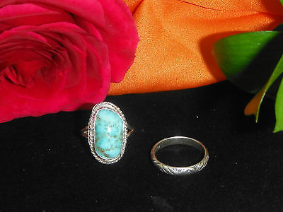 Set of Two (2) Sterling Silver Rings - One with Natural Turquoise Stone