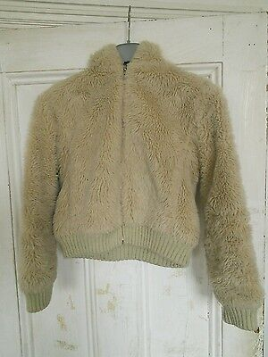 Girls fur fabric beige hooded jacket age 11/12 yrs lovely and snug for winter