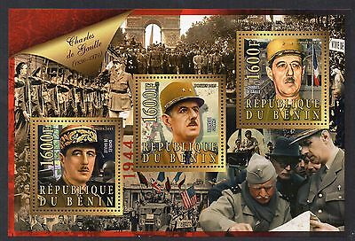Timbres - Bloc-Feuillet - M/s - Benin - Charles De Gaulle - 2015 - 3 Timbres -