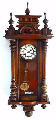 Classic German Antique 8 Day Mahogany Wood Veneer Vienna Regulator Wall Clock
