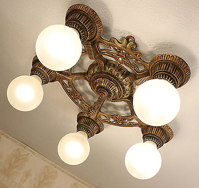 INCREDIBLE 20's ANTIQUE VINTAGE ART DECO FIVE LIGHT CEILING CHANDELIER
