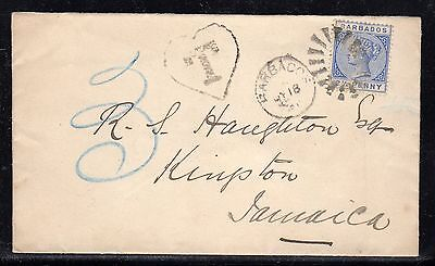 Barbados to Jamaica Postage Due T in Heart 1891 L23