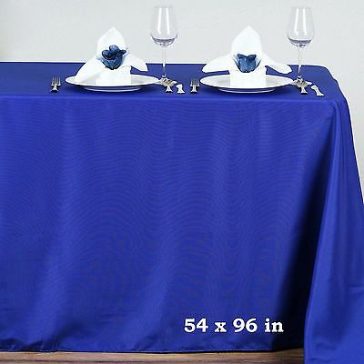 """Royal Blue POLYESTER 54x96"""" RECTANGLE TABLECLOTHS Wedding Party Catering Linens"""