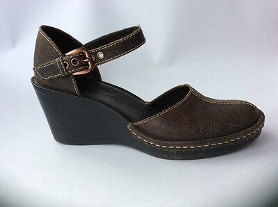 clarks brown leather mary jane wedge shoes 6.5