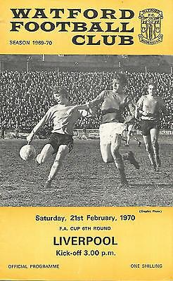 Football Programme - Watford v Liverpool - FA Cup - 21/2/1970