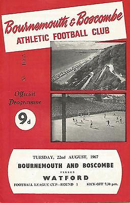 Football Programme - Bournemouth v Watford - League Cup - 22/8/1967