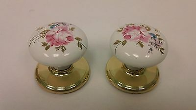 Vintage White Porcelain Rose Design Door Knobs with Brass Plate
