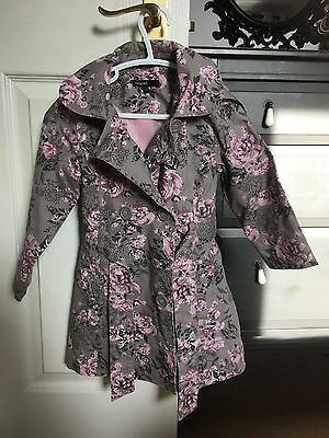 M&S Autograph - Girls Grey/Pink Floral Hooded Jacket / Raincoat - Age 2-3 years