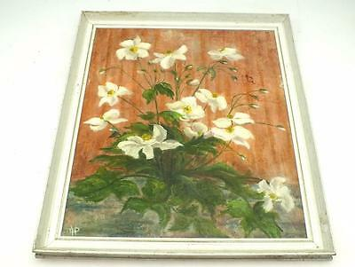 20thC Still Life Oil Painting Of White Flowers - Flower Picture on Board By TEP