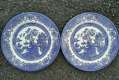 Vintage Blue White Willow Pattern Large Dinner Plates Set