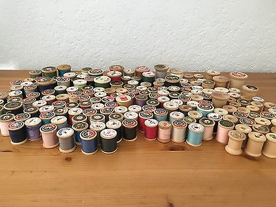 160 Vintage Wooden Thread Spools Sewing