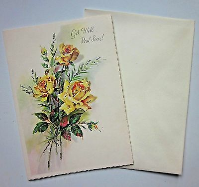 Vintage Get-Well Greeting Card Yellow Roses + Envelope