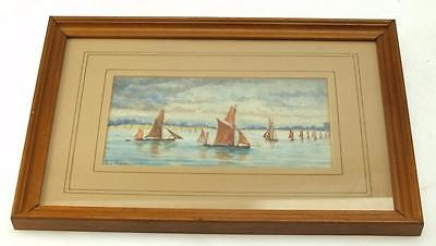 20thC Watercolour Painting Coastal Ship - Seascape Picture - Framed & Signed