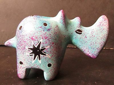 Cute Little Carved Painted Soap Stone RHINOCEROS / RHINO