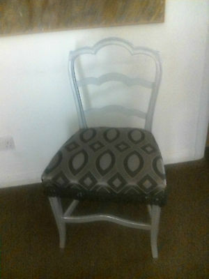 Fab Pair of Vintage Shabby Chic Silver Painted Ladderback Dining Chairs £99!
