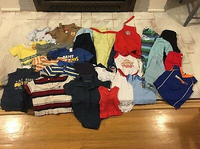 Big Lot Of 28 Pieces Vintage Infant Baby Toddler Clothes Boy Mixed Sizes
