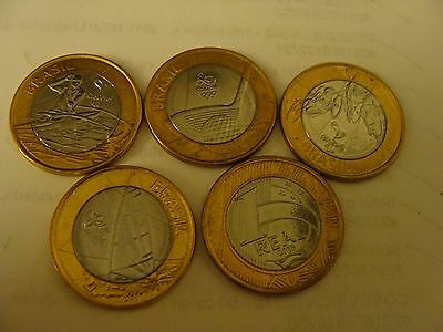 2014 2015 Brazil 1 Real Summer Olympic 5 Bimetal Coins Unc