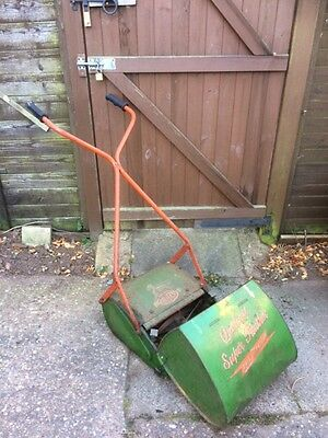 Vintage qualcast super panther push lawnmower with grass collection box