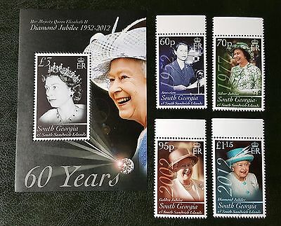 "South Georgia - 2012 Diamond Jubilee 1 Sheet and 4 Stamps  ""MNH"""