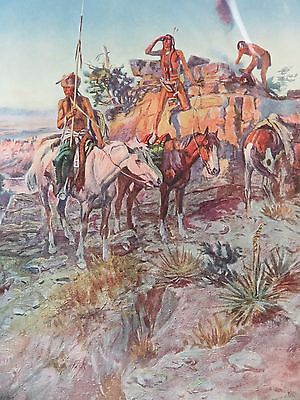 Vintage Charles M. Russell Print, The Signal Fire, Brown & Bigelow, pre 1930