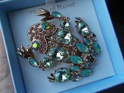 "HUGE FROG Pin Brooch Green Rhinestones Goldtone 2.5"" x 2"" NWOT Original Gift Box"