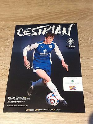 Chester Fc V Fleetwood Town- 2Nd November 2016- F Youth Cup- Programme