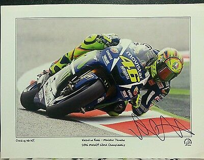 """Valentino Rossi Hand Signed Keith Martin Print """"chasing No.10"""""""