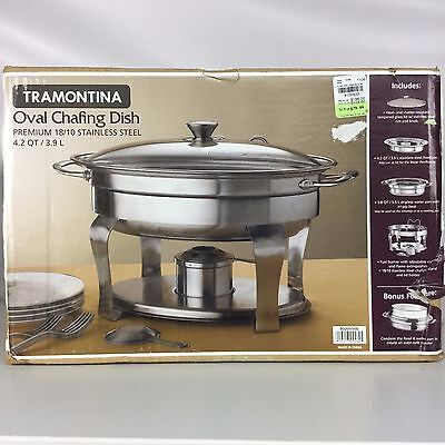 Tramontina 4.2 Qt. Stainless Steel Oval Chaffing Dish 18/10