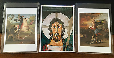 A Set of 3no Religious Postcards - Christ, St Michael & St George - Unposted