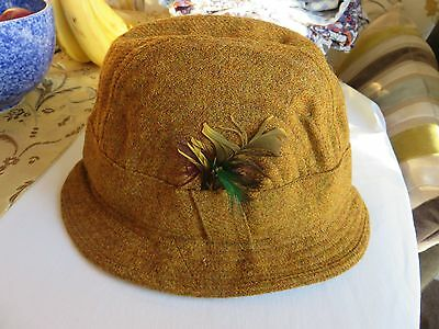 Gold /mustard Otterburn tweed hat with feathers size 6 and 7 eighths Vintage